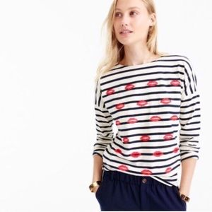 J. Crew Embroidered lips striped T-shirt